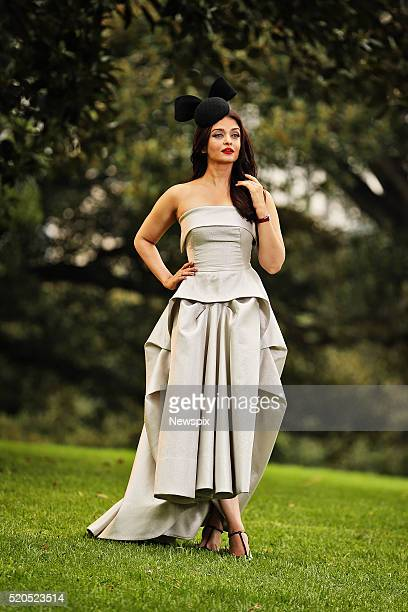 Bollywood actress and model Aishwarya Rai Bachchan poses during a photo shoot at the Sydney Opera House in Sydney New South Wales