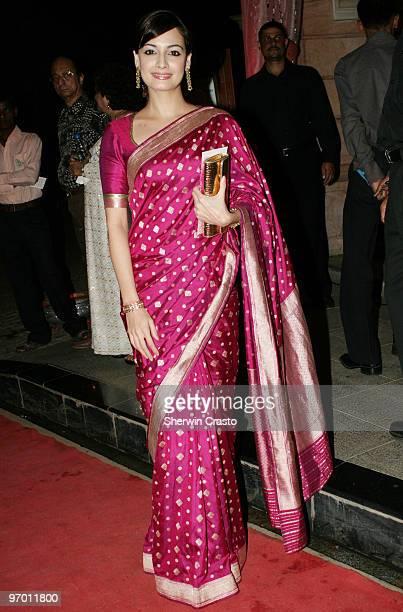 Bollywood actress and model Diya Mirza arrives to attend the wedding reception for Rashi Agarwal and Hemant Bhanadari at ITC Grand Maratha Sheraton...