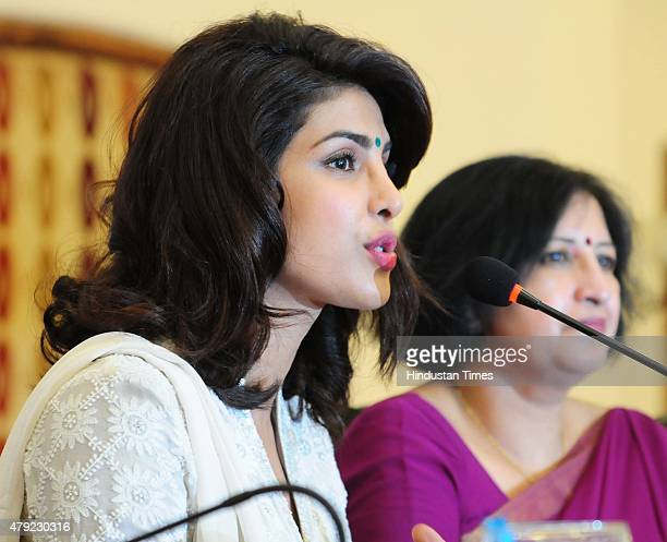 Bollywood actress and UNICEF Goodwill Ambassador Priyanka Chopra interacts with media persons on 'Preventing Anaemia among Adolescents the...