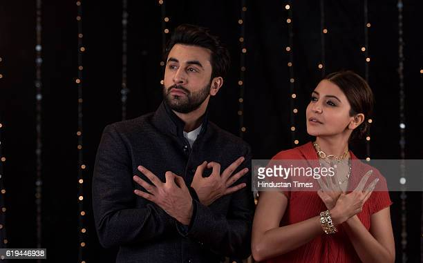 Bollywood actress Anushka Sharma and actor Ranbir Kapoor pose for the Diwali photo shoot on October 25 2016 in Mumbai India