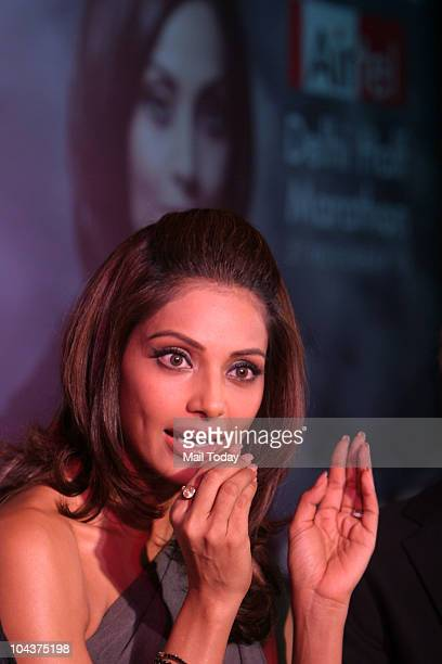 Bollywood actress Bipasha Basu during a press conference of Delhi Half Marathon, which will be held on November 21 in New Delhi on September 22, 2010.