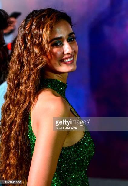 Bollywood actress Disha Patani poses for photographs during the trailer launch of her upcoming romantic action Hindi film 'Malang' in Mumbai on...