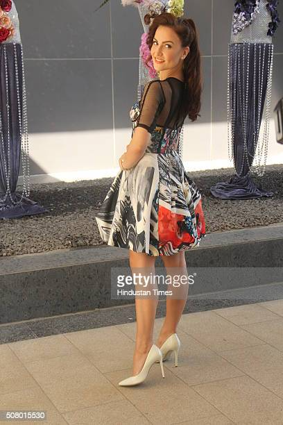 Bollywood actress Elli Avram during the unveiling of summer line by fashion designers Falguni and Shane Peacock at Rustomjee Element Andheri on...