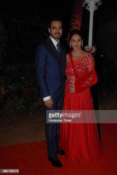 Bollywood actress Esha Deol arrives with her husband Bharat Takhtani to attend the wedding ceremony of her sister Ahana Deol and Vaibhav Vohra on...