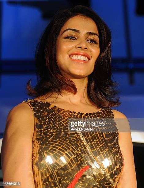 Bollywood actress Genelia D'Souza poses during the launch of the MercedesBenz sports Tourer BClass at the FormulaOne track in greater Noida on July...