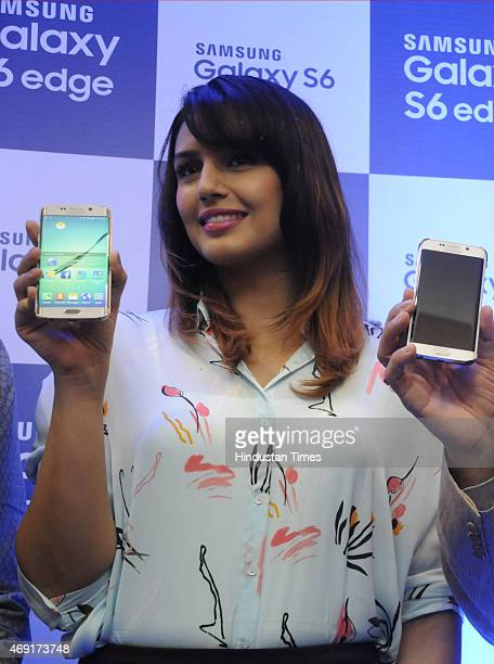 Bollywood actress Huma Quereshi during the launch of Samsung Galaxy S6 edge Smartphone at Ambience mall on April 10 2015 in Gurgaon India