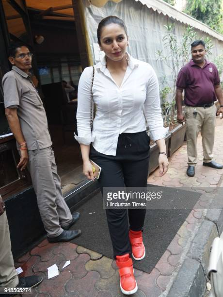 Bollywood actress Huma Qureshi spotted at a restaurant in Andheri on April 17 2018 in Mumbai India