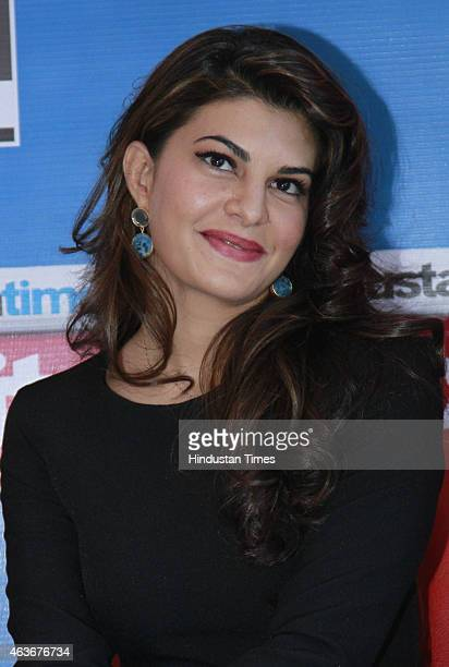 Bollywood actress Jacqueline Fernandez during an interview for the promotion of her upcoming film Roy at HT House on February 10 2015 in New Delhi...