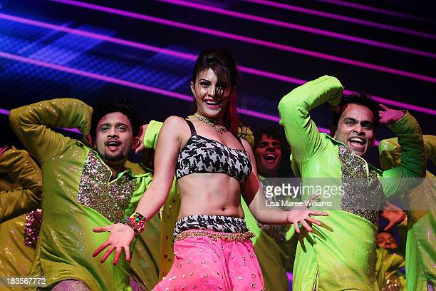 Bollywood actress Jacqueline Fernandez performs live for fans at Allphones Arena on October 7 2013 in Sydney Australia This performance of...