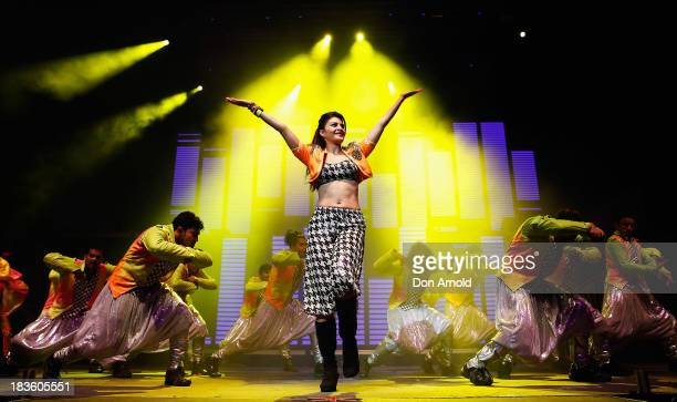 Bollywood actress Jacqueline Fernandez performs live on stage at Allphones Arena on October 7 2013 in Sydney Australia This performance of...