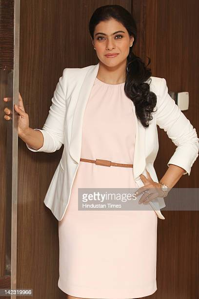 Bollywood Actress Kajol Devgan poses at a promotional event for Whirlpool new product launch on March 22 2012 in New Delhi India