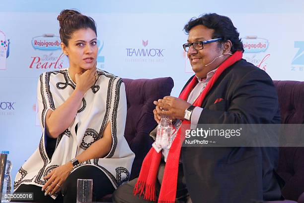 Bollywood actress Kajol Devgan with Writer Ashwin Sanghi during the session at the 9th Edition of ZEE ZEE Jaipur Literature Festival at Diggi Palace...