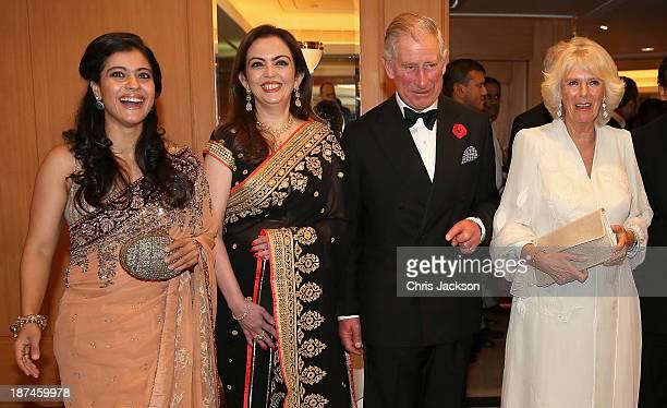 Bollywood actress Kajol Nita Ambani Prince Charles Prince of Wales and Camilla Duchess of Cornwall at the British Asian Trust Reception on day 4 of...