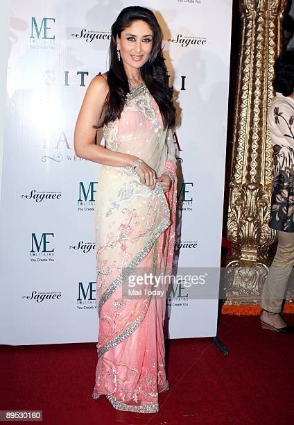 Bollywood actress Kareena Kapoor greets the media after she was announced brand ambassador for a jewelry line in Mumbai on Monday July 27 2009