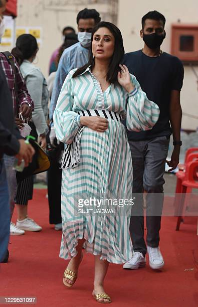 Bollywood actress Kareena Kapoor leaves the studio after her radio shows 'What Women Want' in Mumbai on November 8, 2020.
