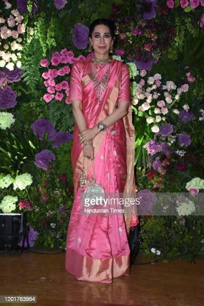 MUMBAI INDIA MUMBAI INDIA FEBRUARY 3 Bollywood actress Karisma Kapoor at the wedding reception of actor Armaan Jain and Anissa Malhotra on February 3...