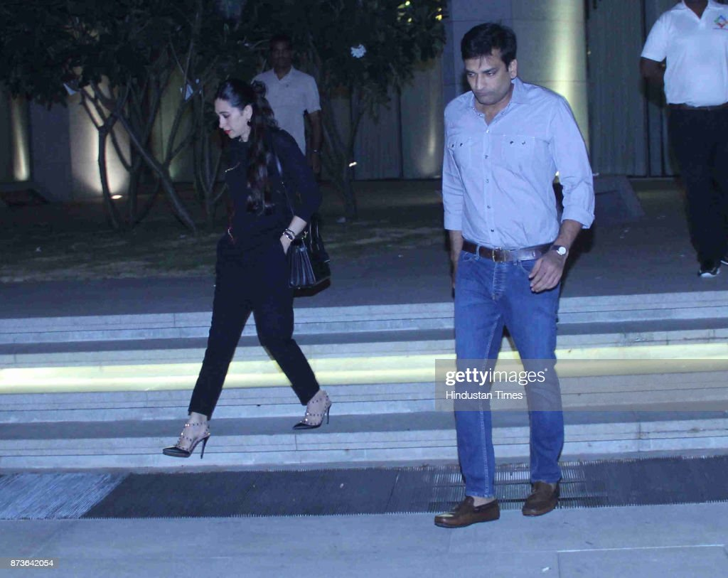 Bollywood actress Karisma Kapoor with boyfriend Sandeep Toshniwal spotted at BKC Bandra on November 11 2017 in Mumbai India