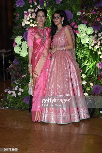 MUMBAI INDIA MUMBAI INDIA FEBRUARY 3 Bollywood actress Karisma Kapoor with her daughter Samiera Kapoor at the wedding reception of actor Armaan Jain...