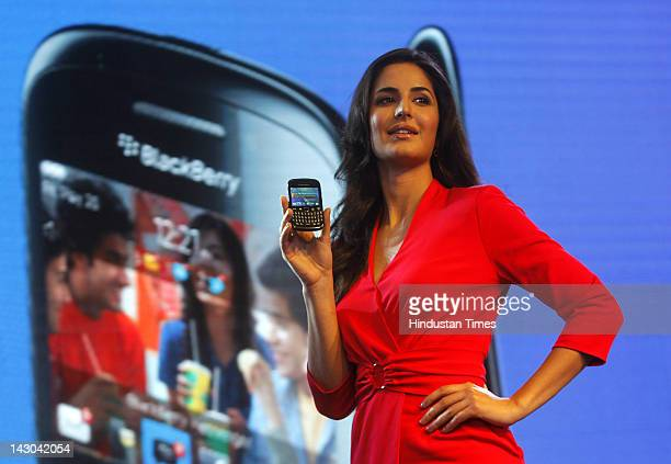 Bollywood actress Katrina Kaif attends the launch of Blackberry Curve 9220 on April 18 2012 in New Delhi India