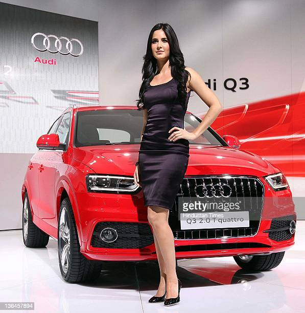 Bollywood actress Katrina Kaif poses with the newly unveiled Audi Q3 during the 11th Auto Expo 2012 Pragati Maidan on January 5 2012 in New Delhi...