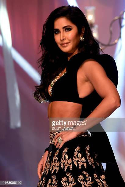 Bollywood actress Katrina Kaif presents a creation by designer Manish Malhotra at Lakme Fashion Week Winter Festive 2019 in Mumbai on August 20 2019...