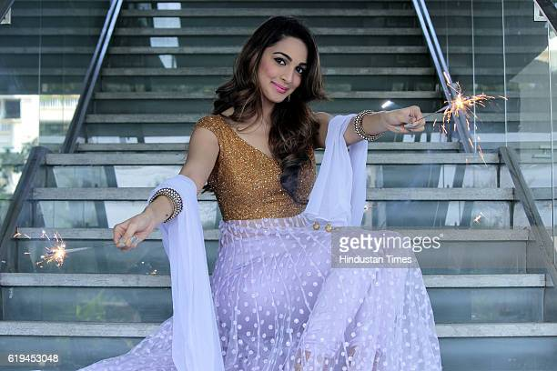Bollywood actress Kiara Advani posing for a profile shoot on the occasion of Diwali festival at Hotel Taj Vivanta Dwarka on October 25 2016 in New...
