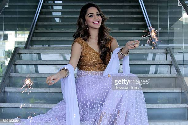 Bollywood actress Kiara Advani posing for a profile shoot on the occasion of Diwali festival at Hotel Taj Vivanta, Dwarka on October 25, 2016 in New...