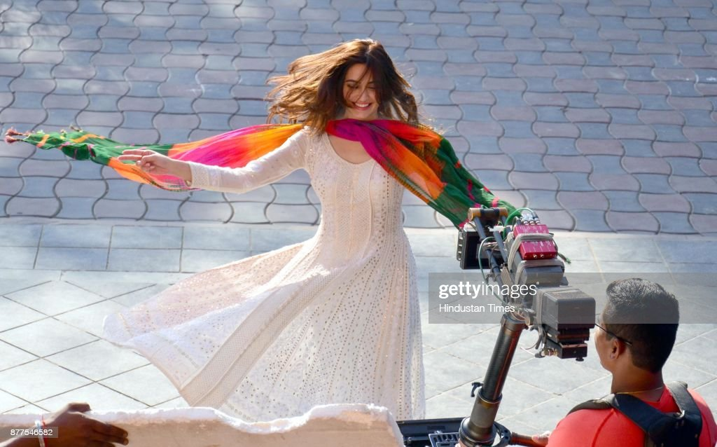 Bollywood actress Kriti Kharbanda shooting for his upcoming Hindi movie Yamla Pagla Deewana 3 at Heritage Street on November 22 2017 in Amritsar India