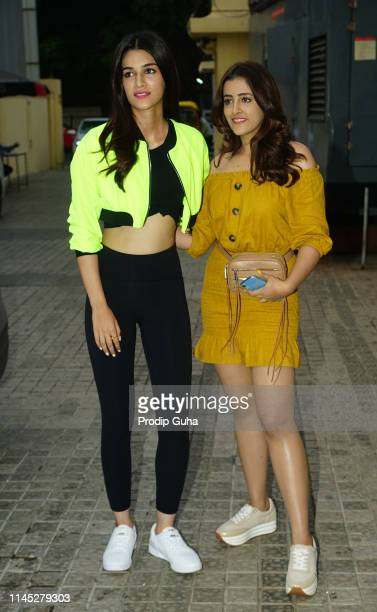 Bollywood actress Kriti Sanon and her sister Nupur Sanon during Bollywoode producer Sajid Nadiadwala host a special screening of Avengers End Game at...