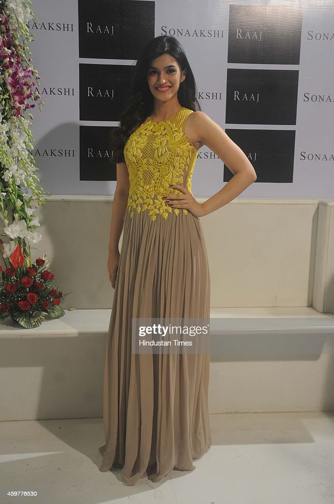 Bollywood actress Kriti Sanon during Sonaakshi Raaj store launch at Bandra on November 20 2014in Mumbai India