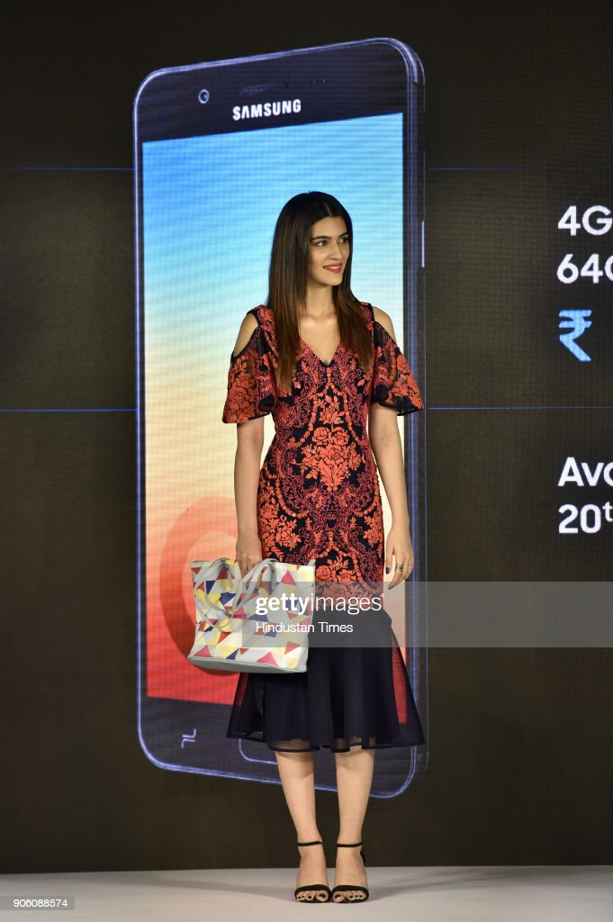 Bollywood Actress Kriti Sanon during the launch of Samsung Galaxy On7 Prime with Samsung Mall on January 17 2018 in Gurgaon India