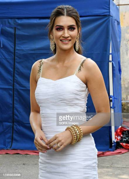 Bollywood actress Kriti Sanon poses for a photo at Filmistan studio during a promotional event of her upcoming film 'Hum Do Hamare Do' in Mumbai.