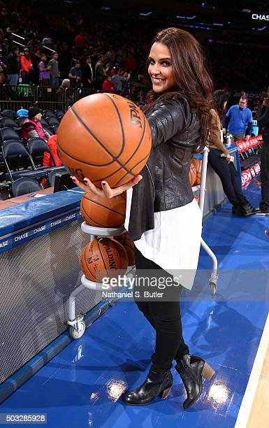 Bollywood actress Neha Dhupia before the New York Knicks face off against the Atlanta Hawks on January 3 2016 at Madison Square Garden in New York...