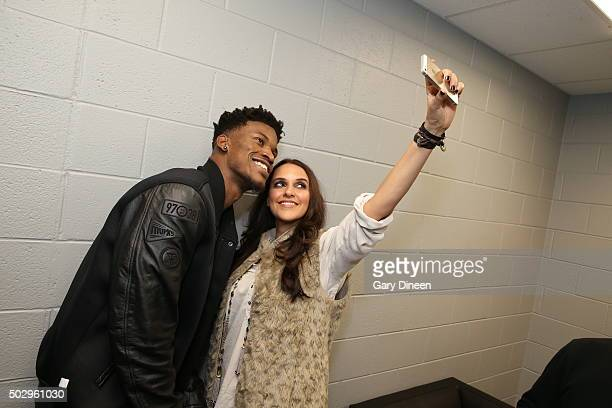 Bollywood Actress Neha Dhupia poses after the game with Jimmy Butler of the Chicago Bulls on December 30 2015 at the United Center in Chicago...
