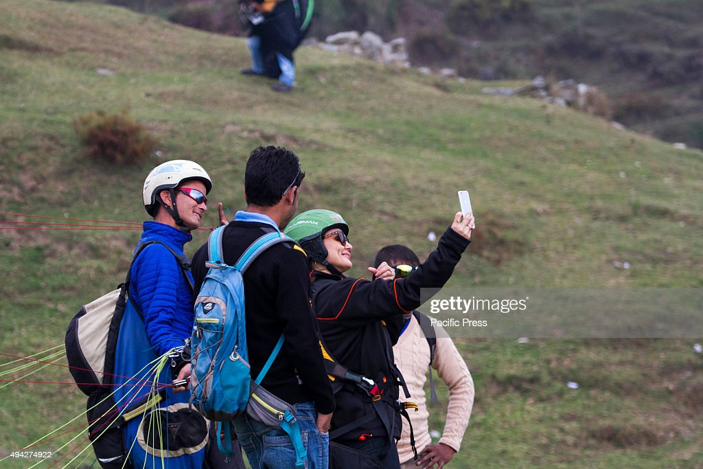 Bollywood actress Priti Zinta taking a selfie with Paraglider pilot Shamsher Singh during the Paraglider World Cup at Billing on Sunday The 2nd day...