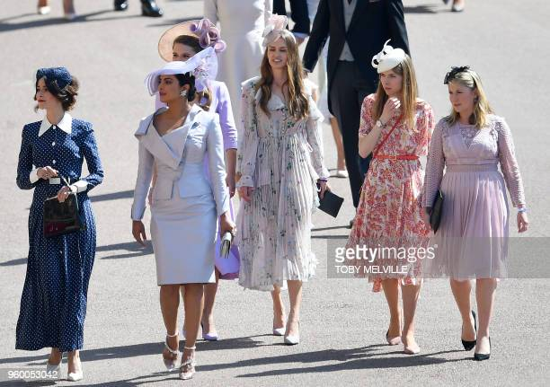 Bollywood actress Priyanka Chopra arrives for the wedding ceremony of Britain's Prince Harry Duke of Sussex and US actress Meghan Markle at St...