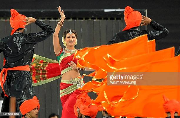 Bollywood actress Priyanka Chopra performs during a ceremony before the IPL Twenty20 cricket match between Pune Warriors India and Kings XI Punjab at...