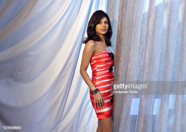 Bollywood actress Priyanka Chopra poses during a profile shoot for HT City on October 11 2008 in New Delhi India