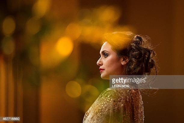 Bollywood actress Rani Mukerji addresses guests at the British Asian Trust dinner in central London on February 3, 2015. Prince Charles was joined by...