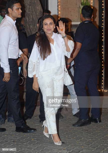 Bollywood actress Rani Mukerji arrives to attend the mehendi ceremony of Bollywood actress Sonam Kapoor at her Juhu Bungalow on May 6 2018 in Mumbai...