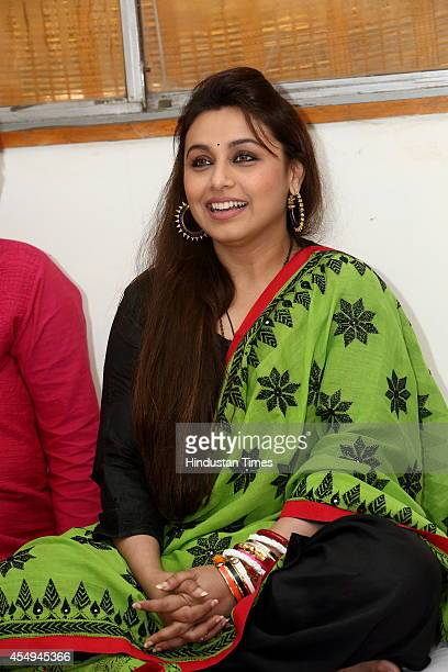 Bollywood actress Rani Mukerji during a press meet to discuss the issue of sextrafficking on September 4 2014 in New Delhi India