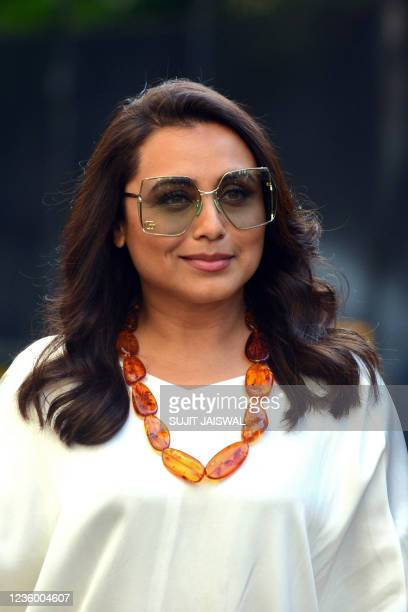 Bollywood actress Rani Mukerji poses for pictures during a promotional event of her upcoming crime comedy Hindi film Bunty Aur Babli 2 in Mumbai on...