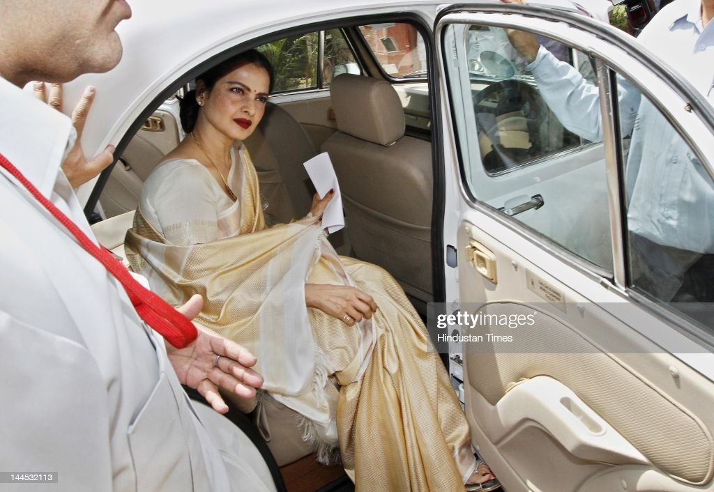 Bollywood actress Rekha arrives at Parliament to take oath as a member of Rajya Sabha on May 15 2012 in New Delhi India 57yearold Rekha Ganeshan is...