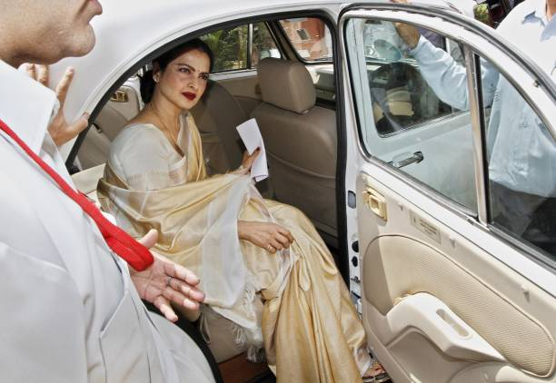 Bollywood actress Rekha arrives at Parliament to take oath as a member of Rajya Sabha on May 15 2012 in New Delhi India 57yearold Rekha Ganeshan is...