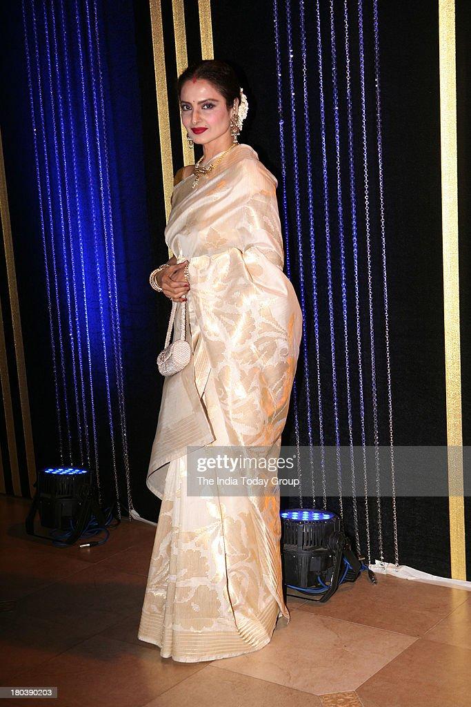 Bollywood actress Rekha the 64th birthday celebrations of actor turned producer Rakesh Roshan at Blue Sea Worli Seaface on September 6 2013 in Mumbai