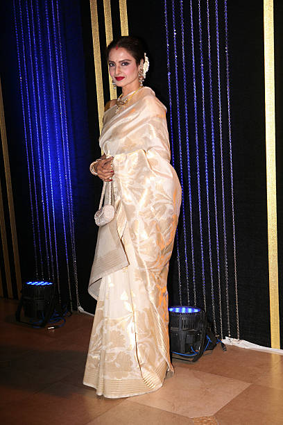 Bollywood actress Rekha the 64th birthday celebrations of actor turned producer Rakesh Roshan at Blue Sea Worli Seaface on September 6 2013 in Mumbai