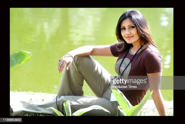 Bollywood actress Rimi Sen poses during her profile shoot on October 9 2007 in New Delhi India