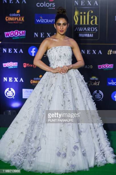 Bollywood actress Sara Ali Khan arrives for the 20th International Indian Film Academy Awards at NSCI Dome in Mumbai on September 18 2019