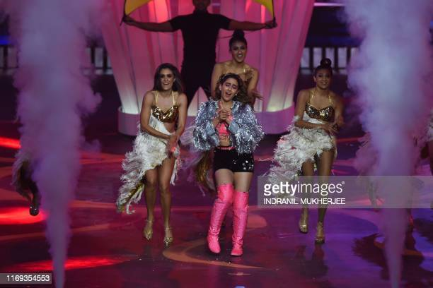 Bollywood actress Sara Ali Khan performs on stage during the 20th International Indian Film Academy Awards at NSCI Dome in Mumbai on September 18 2019
