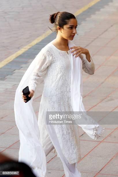 Bollywood actress Shardha Kapoor arrives to pay respect during prayer meeting of Aishwarya Rai Bachchan's father at hotel Taj Lands End Bandra on...